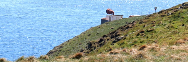 27 foghorn, Ruth walking the Mull of Galloway Trail, Scotland