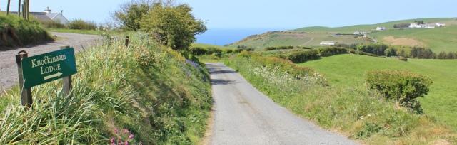 27 lane to Knockinaam Lodge, Ruth hiking through The Rhins, Galloway, Scotland