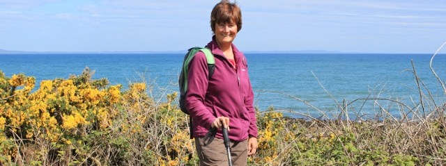 29 self Portrait, Terally Point, Ruth hiking the Mull of Galloway Trail