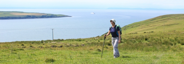 30 Ruth Livingstone on Laight Moor above Loch Ryan, Mull of Galloway Trail