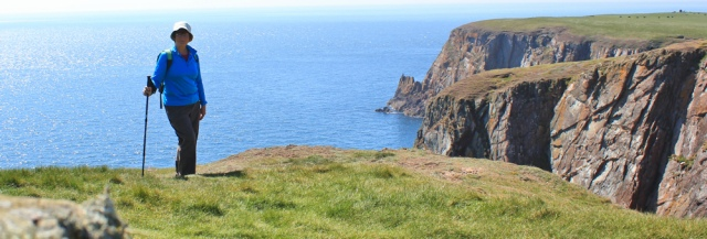 33 Ruth Livingstone on Carrickcarlin Point, Ruth walking the Mull of Galloway Trail, Scotland