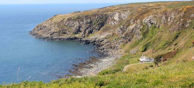 35 Morroch Bay, Ruth hiking to Portpatrick, Galloway coast, Scotland