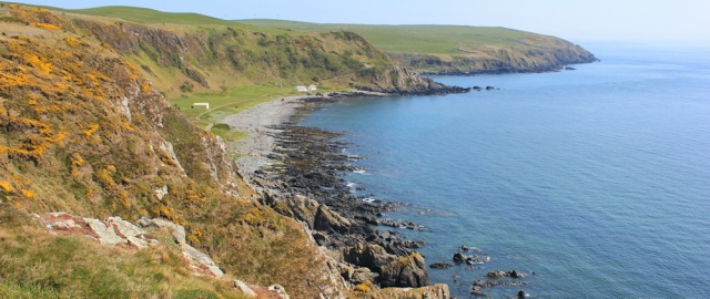 38 picnic stop above Morroch Bay, Ruth hiking to Portpatrick, Galloway, Scotland