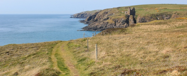 39 Dunskey castle, Ruth hiking to Portpatrick, Galloway, Scotland