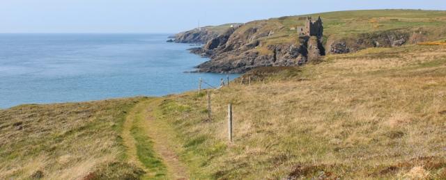 39 Dunskey castle, Ruth hiking to Portpatrick, Galloway, Scotland