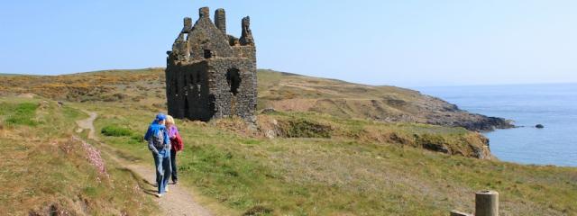41 Dunskey Castle, Ruth hiking to Portpatrick, Galloway, Scotland