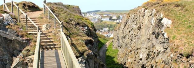 42 footpath into Portpatrick, Ruth walking the coast of Galloway, Scotland