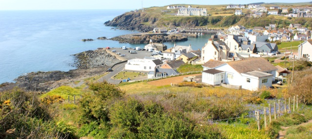 43 Portpatrick, Ruth hiking the coast of Galloway, Scotland