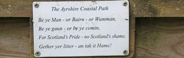 05 litter sign, Ruth hiking in Scotland, Ayrshire Coastal Path