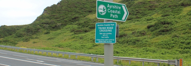 08 A77 crossing, Ruth walking the Ayrshire Coastal Path, Scotland