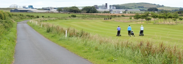 11 Girvan golf course, Ruth Livingstone walking the Ayrshire Coastal Path