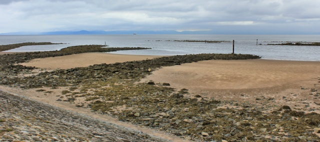 12 mouth of River Irvine, Ruth walking the Ayrshire Coastal Path, Scotland