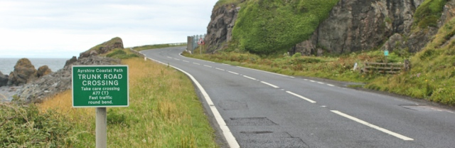 27 Trunk Road Crossing, Pinbain Hill, Ruth walking the Ayrshire Coastal Path, Scotland