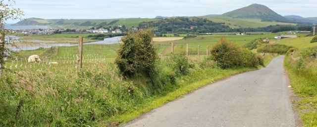 35 country lane to Ballantrae, Ruth hiking the Ayrshire Coastal Path, Scotland