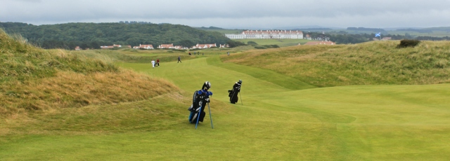 37 Turnberry links, Ruth hiking the Ayrshire Coastal Path, Scotland