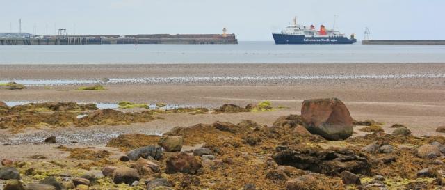 01 Arran Ferry, Ruth in North Bay, Ardrossan, hiking the coast of Scotland