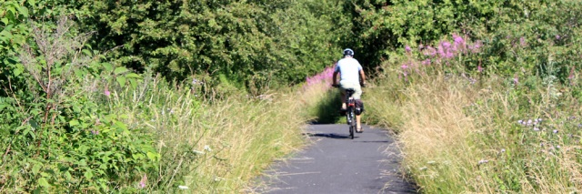 05 cycle path to Kilwinning, Ruth hiking the coast of west scotland