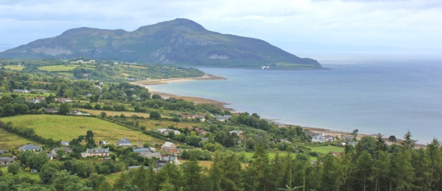 10 view over Whiting Bay and Holy Island, Ruth on the Isle of Arran Coastal Way