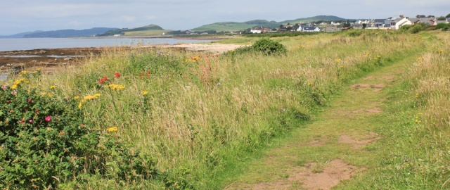 12 path to West Kilbride, Ruth hiking the Scottish Coast