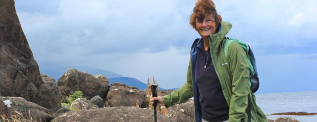 14 Ruth Livingstone hiking the coast from Brodick to Lamlash, Isle of Arran