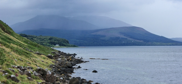15 rain over Goat Fell, Ruth hiking the Arran Coastal Way, Scotland