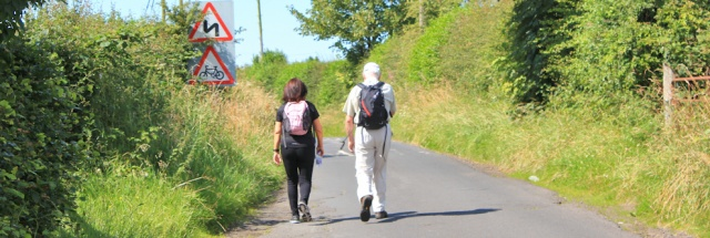 16 fellow walkers on path to Stevenstone, Ruth's coastal walk in Scotland