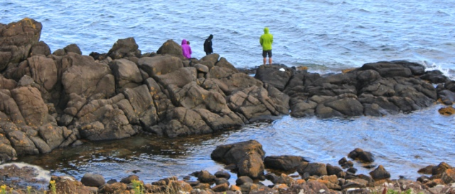 17 fishing on rocks, Clauchlands Point, Ruth's coastal walk, Isle of Arran