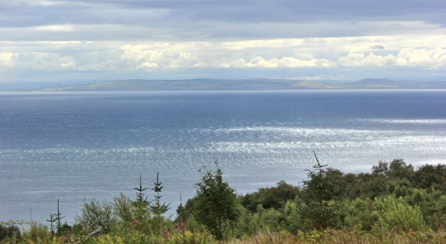 17 view over Firth of Clyde to Ayrshire, Ruth hiking the coast of Arran, Scotland