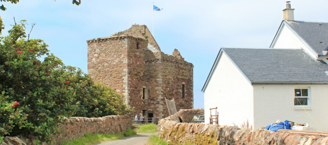 19 castle at Portencross, Ruth hiking the Ayrshire Coastal Path, Scotland