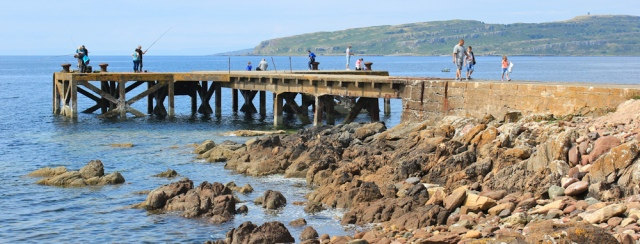 20 Pier at Portencross, Ruth hiking the Ayrshire Coastal Path, Scotland