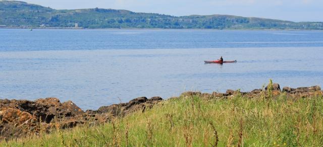 22 canooist and Little Cumbrae Island, Ruth hiking the Ayrshire Coastal Path, Scotland