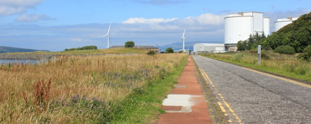 25 Hunterston nuclear power station, Ruth hiking the Ayrshire Coastal Path, Scotland