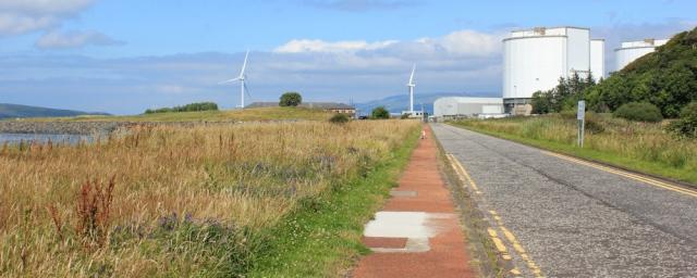 25 Hunterston nuclear power station, Ruth hiking the Ayrshire Coastal Path, Scotland