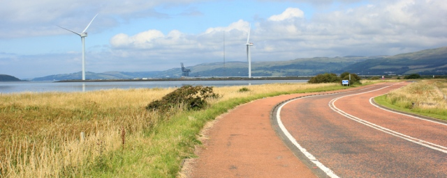26 access road, Hunterston nuclear power station, Ruth hiking the Ayrshire Coastal Path, Scotland