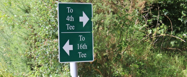 26 golfing sign, Ruth Livingstone's coastal walk, Scotland