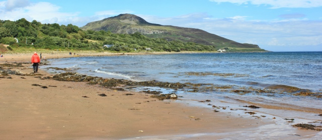 35 Whiting Bay and Holy Island, Ruth hiking the Arran Coastal Way, Scotland