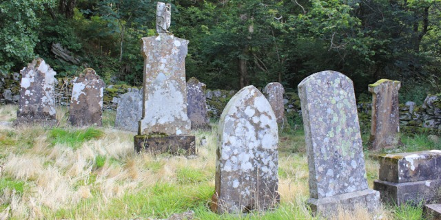 08 old burial ground, Ruth walking the Arran Coast to Lochranza