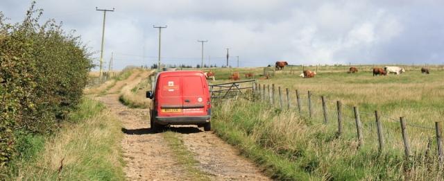 11 post office van, Ruth hiking the Arran Coastal Way, Scotland