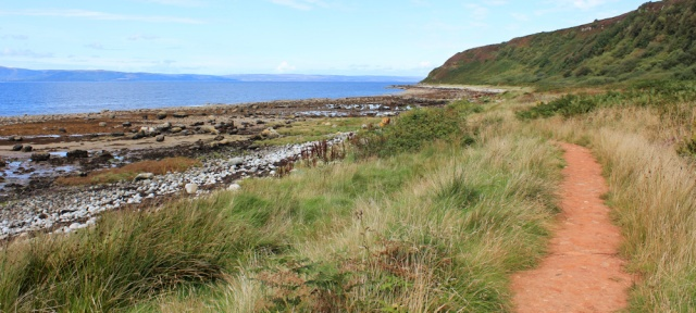 13 easy path to Machrie, Ruth hiking the Arran Coastal Way
