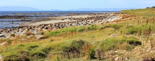 18 shore walking, to Lagg, Ruth hiking the Arran Coastal Way
