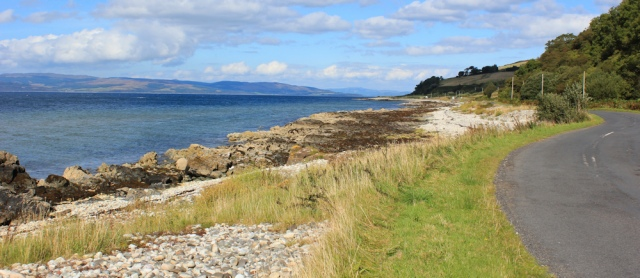 20 coast road to Lochranza, Ruth hiking in Arran