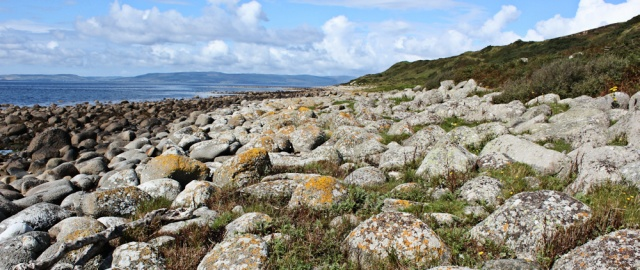 23 boulder field, Ruth walking the coast, South Arran, Scotland