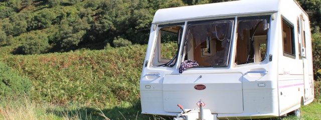 24 trashed caravan, Ruth's coastal walk around Arran