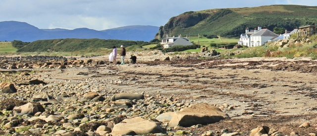 35 walkers, Blackwaterfoot beach, Ruth hiking on Arran