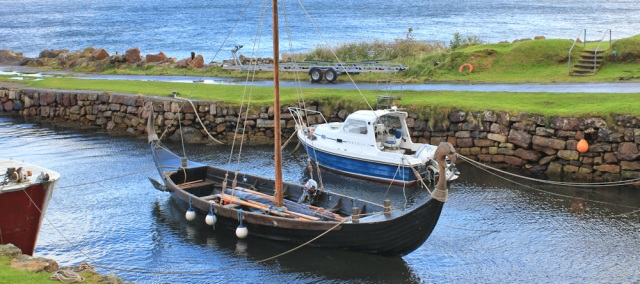 09 viking ship, Corrie harbour, Ruth on the Arran Coastal Way