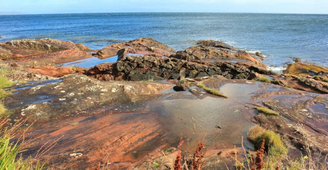13 red sandstone rocks, Corrie, Ruth's coastal walk Arran