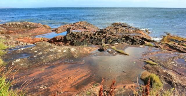 13 red sandstone rocks, Corrie, Ruth's coastal walk Arran