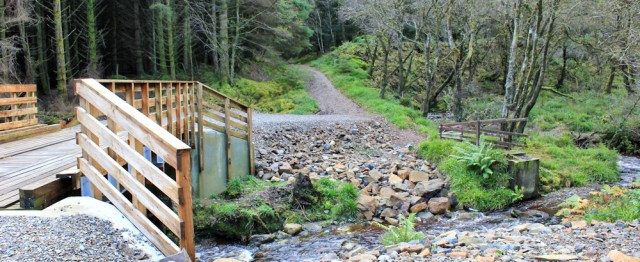 26 new bridge, Ruth hiking Arran Coastal Way, Merkland Wood