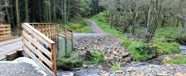 26 new bridge, Ruth hiking Arran Coastal Way, Merkland Wood