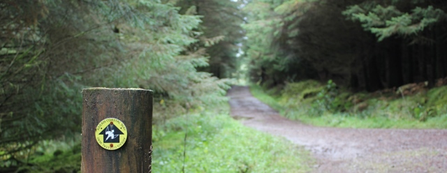 27 woodland walk, Arran Coastal Way, Ruth hiking to Brodick
